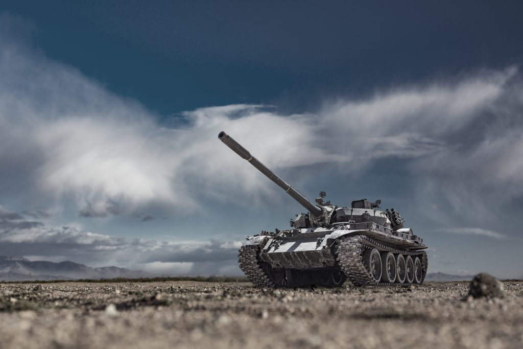 coating application shown on military tank